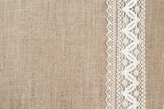 royalty free burlap and lace background.