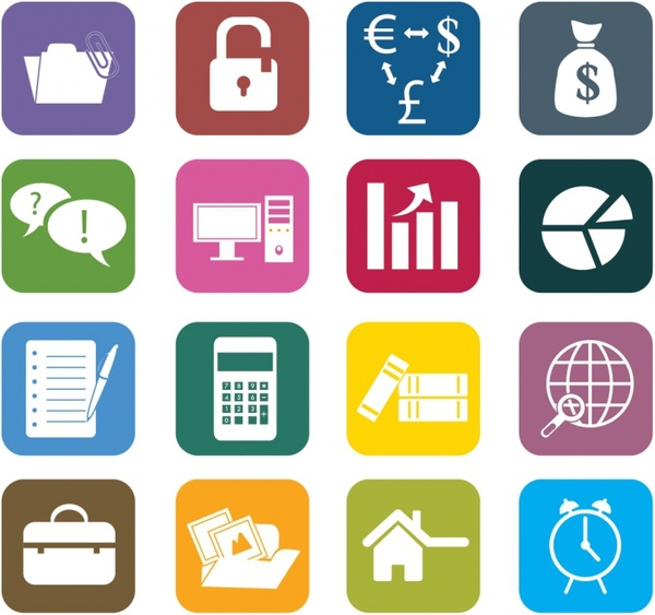 Business Color Icons Free vector in Adobe Illustrator ai.