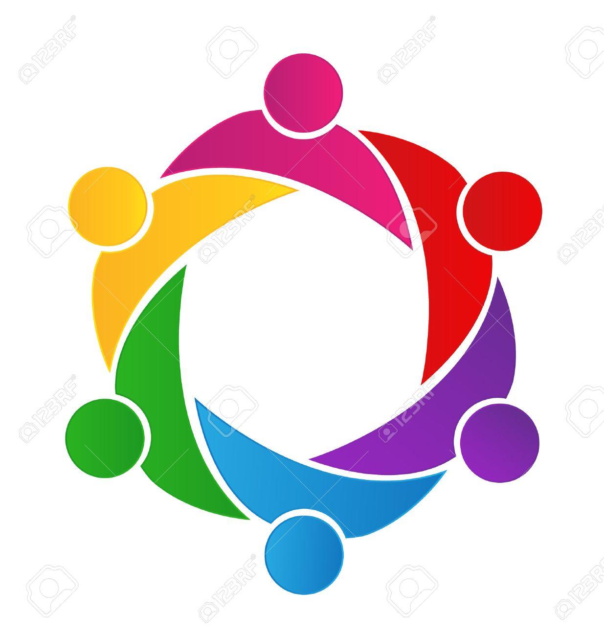 Teamwork business logo. Concept of community union goals solidarity...