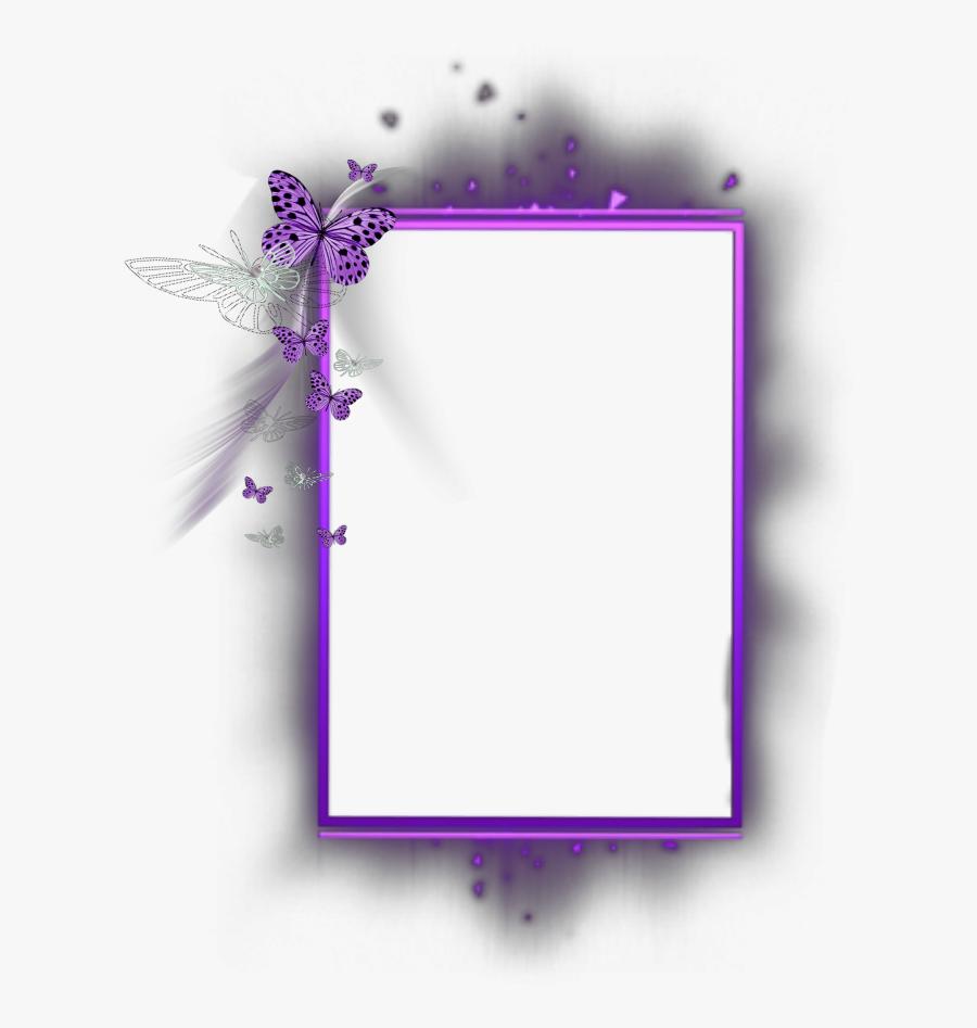 Transparent Purple Butterfly Border Clipart.