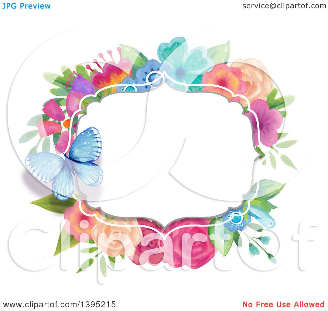 Clipart of a Colorful Flower Watercolor Label Frame with a.