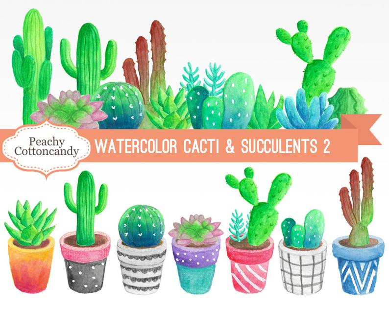 BUY 2 GET 1 FREE Watercolor Cactus Clipart 2.