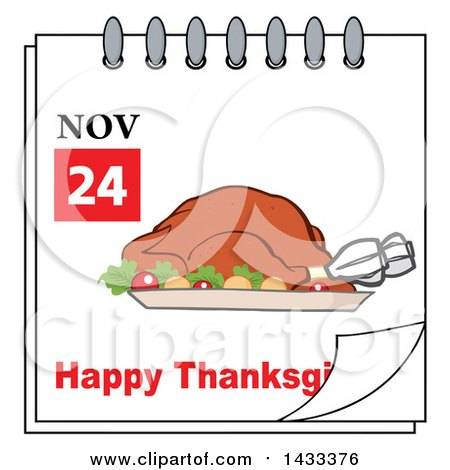 Clipart of a November 24 Happy Thanksgiving Calendar Page with a.