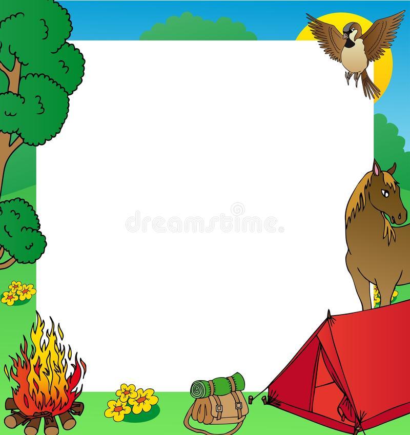 Camping Frame Art X Stock Illustrations.