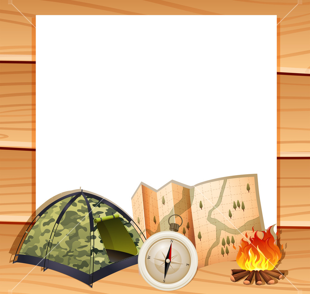 Border design with camping equipments illustration Royalty.