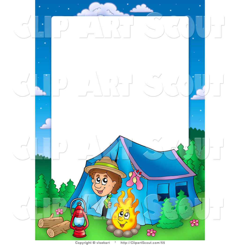 Clipart of a Boy Camping Border Frame Around White Space for Text by.