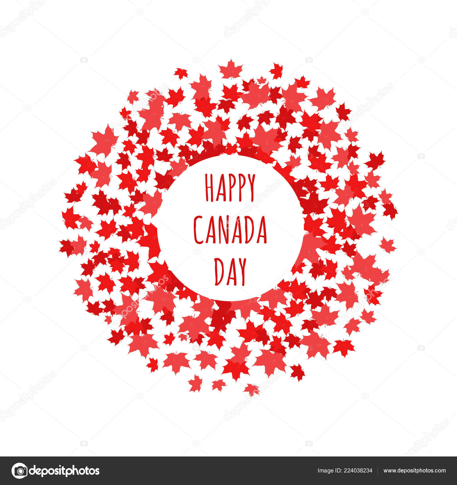 Happy Canada Day Label Logo Banner Card Clipart Red Maple — Stock.