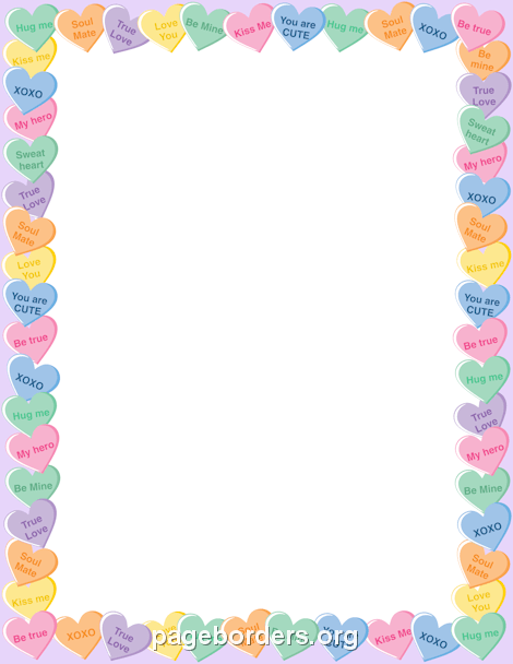 Candy Heart Border: Clip Art, Page Border, and Vector Graphics.