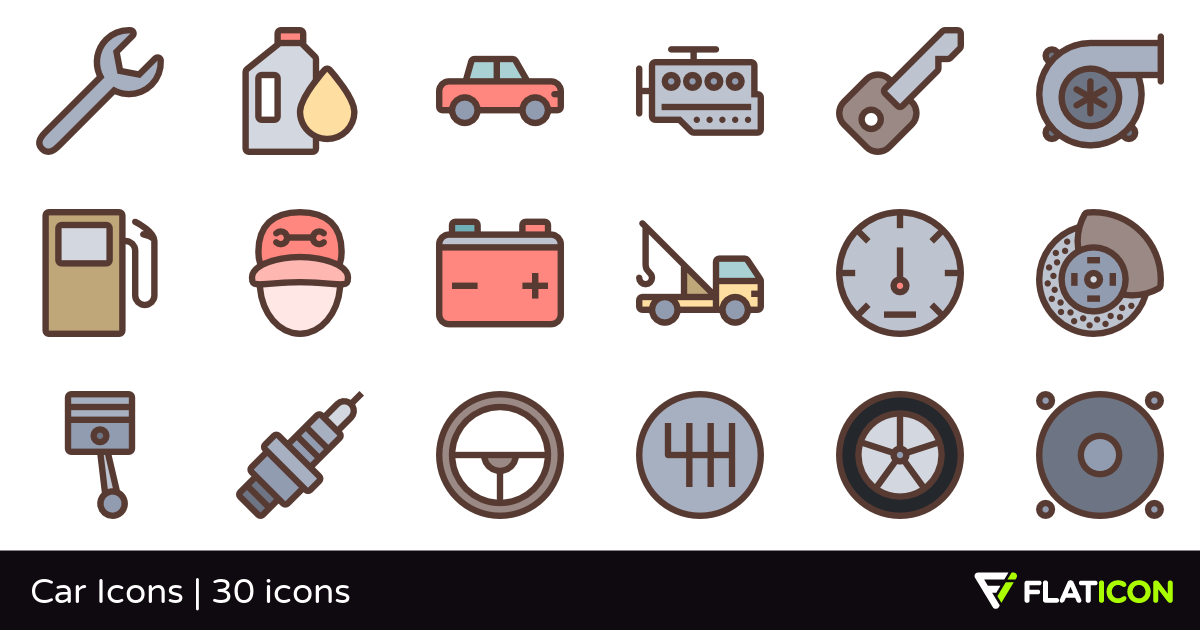 Car Icons 30 free icons (SVG, EPS, PSD, PNG files).