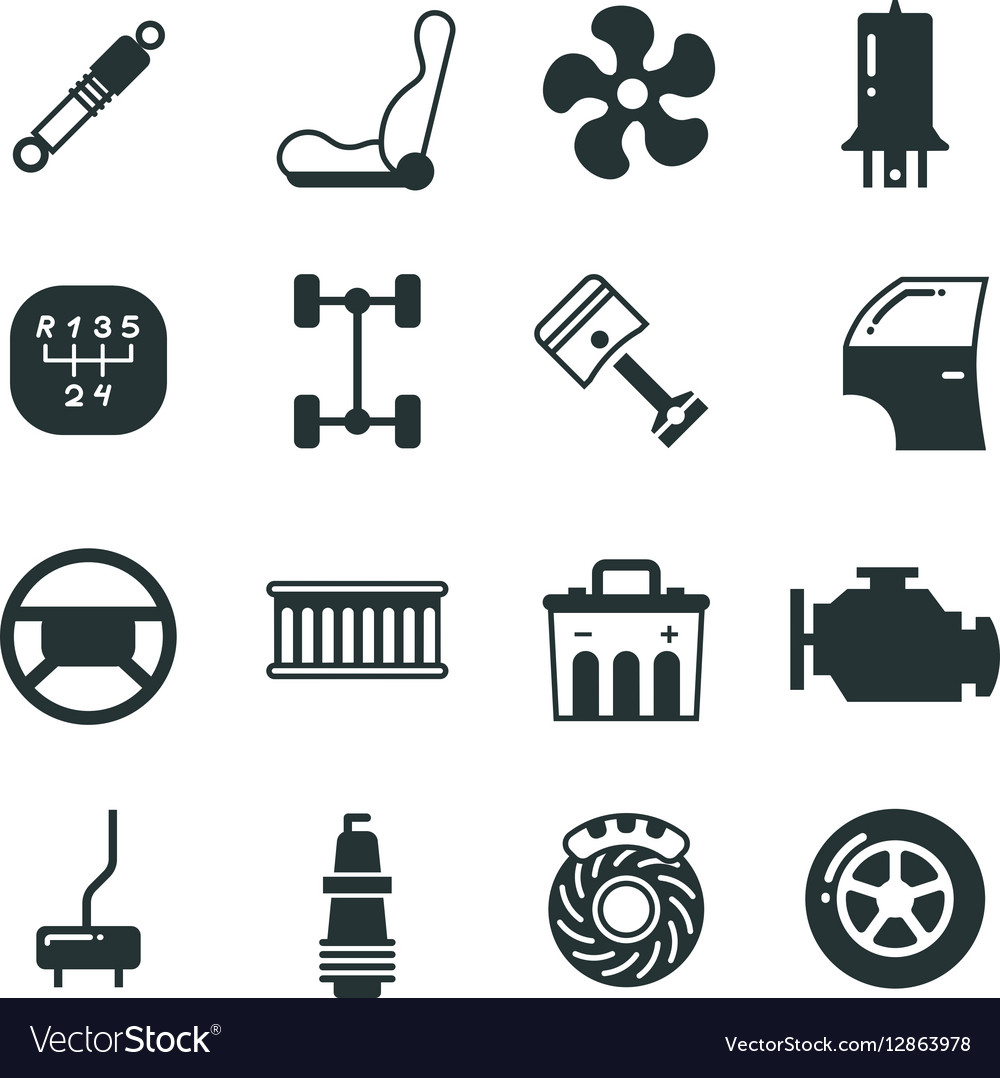 Car parts mechanic icons set.