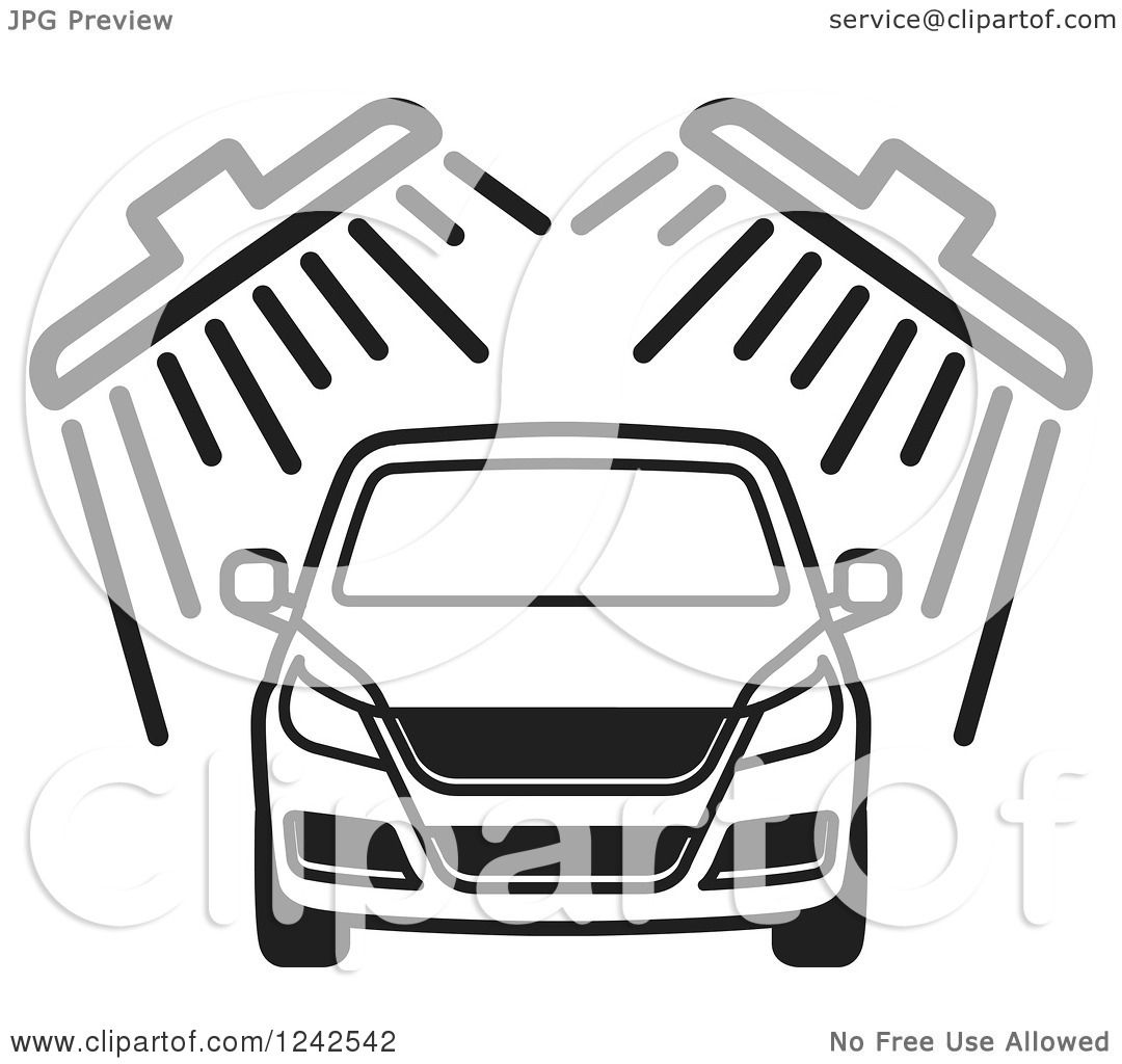 Clipart of a B;ack and White Automobile in a Car Wash 2.
