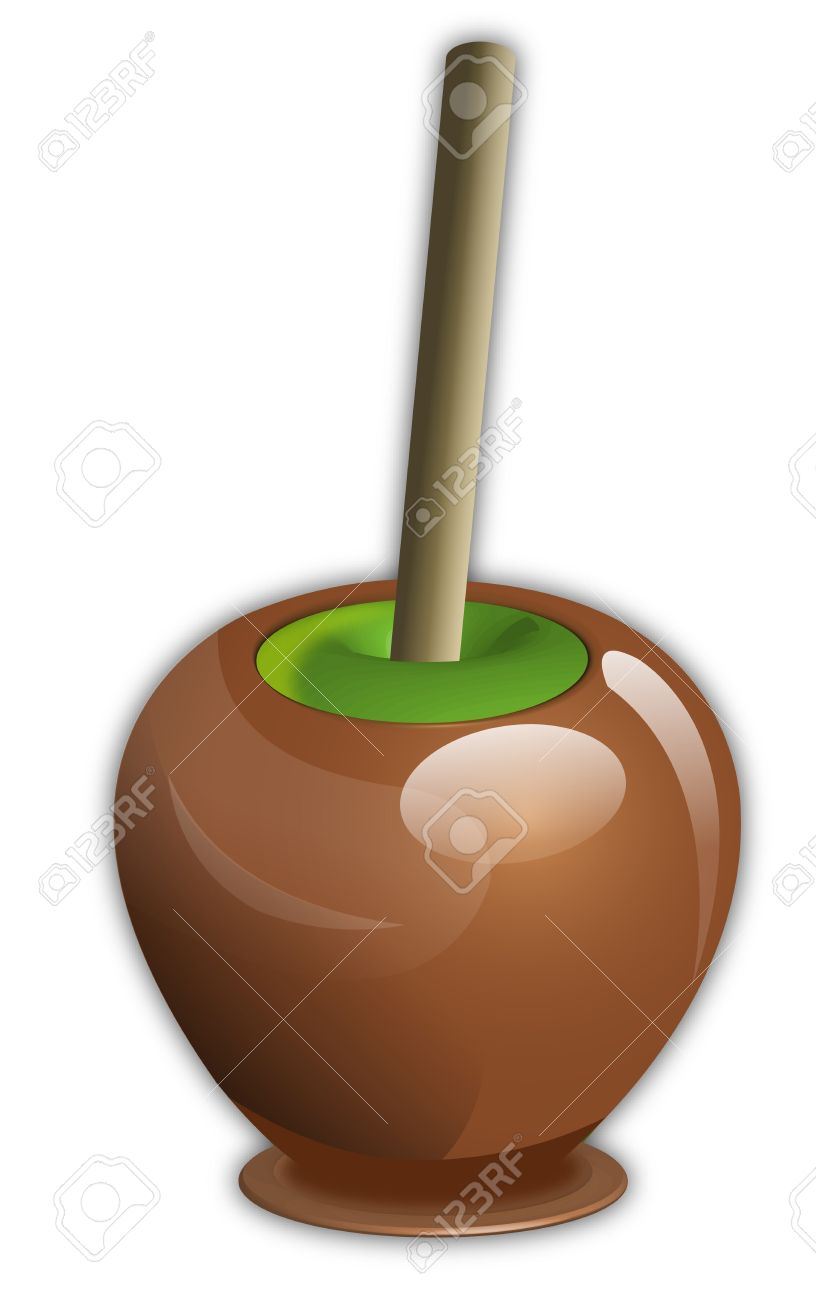 Caramel Covered Candy Green Apple With Wooden Stick Stock Photo.
