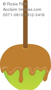 Royalty Free Clipart Illustration of a Green Caramel Apple.