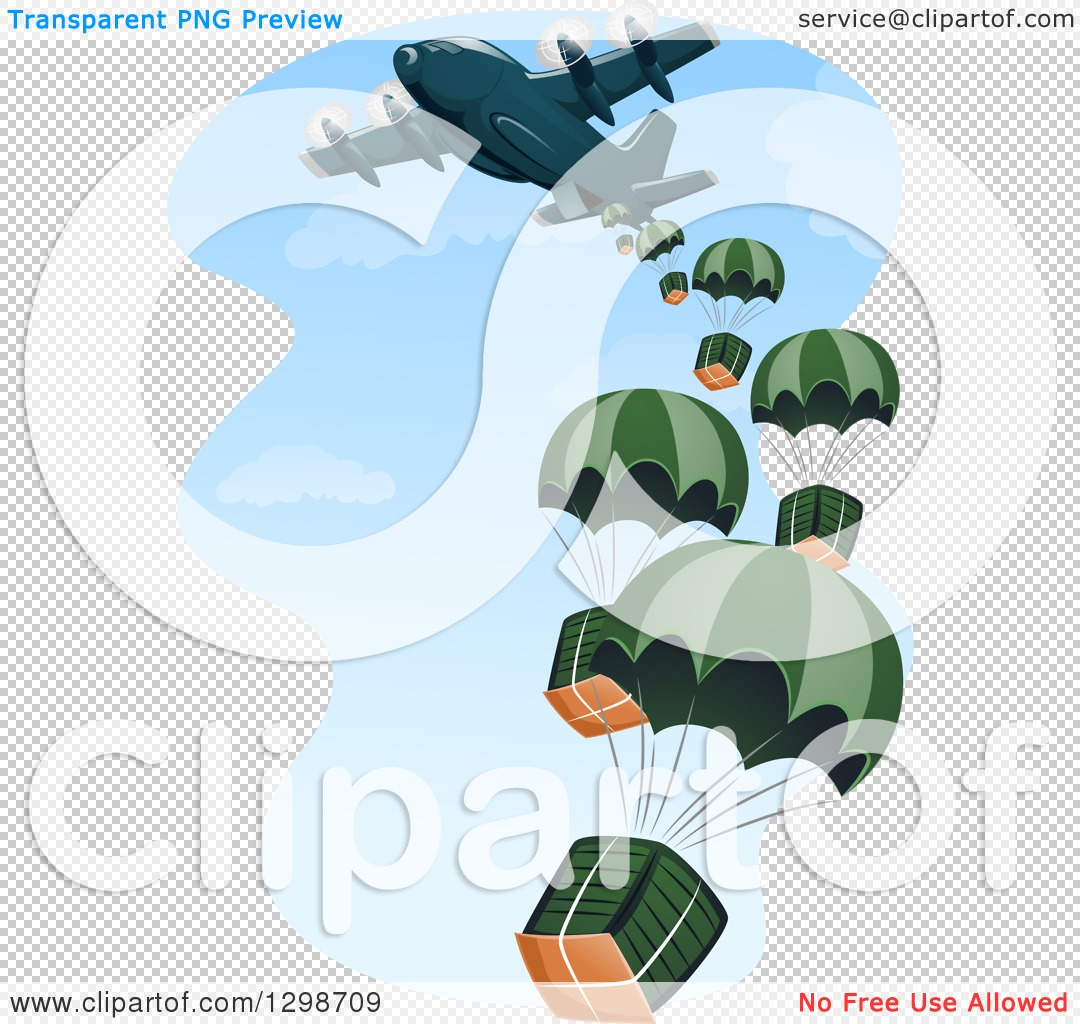 Clipart of a Cargo Plane Making a Drop.