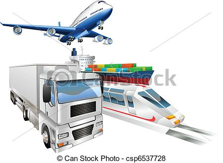 Vector of Logistics concept airplane truck train cargo ship.