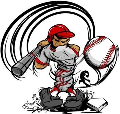 Cartoon baseball figures vector art free free vector.