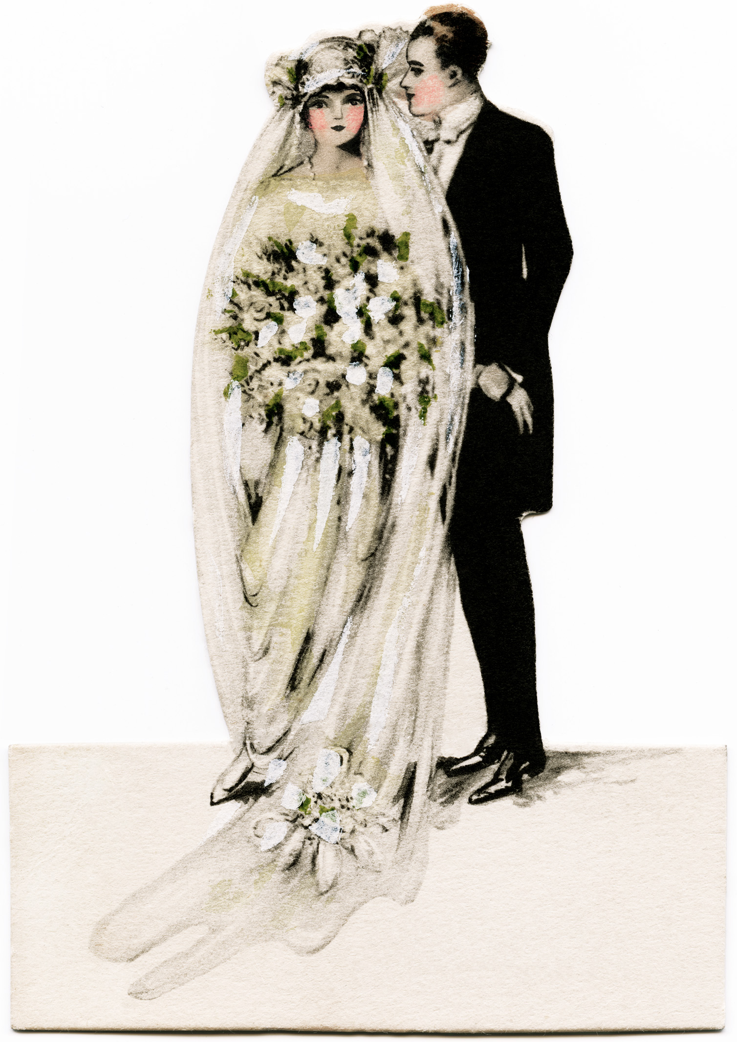 Victorian bride and groom, vintage wedding clipart, antique.