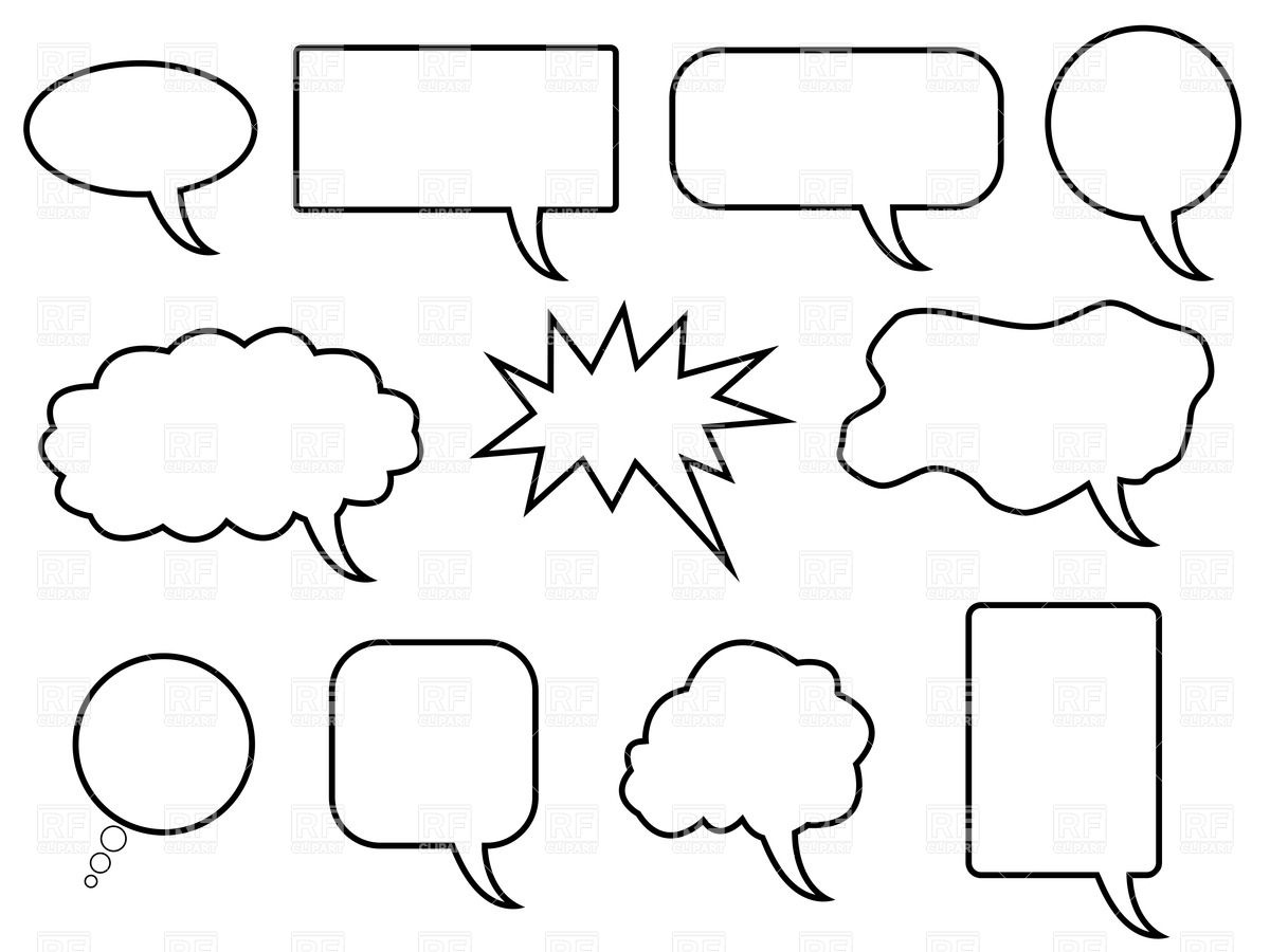 Cartoon simple speech bubbles and balloon Stock Vector Image.