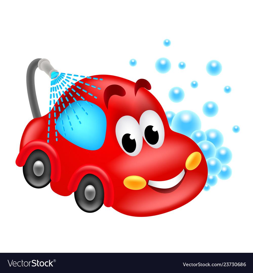 Cartoon car wash service isolated.