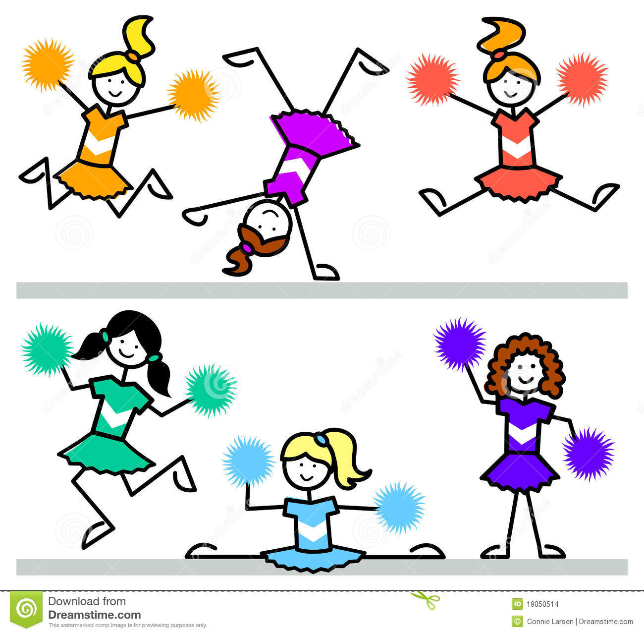 Cartoon Cheerleader Kids/eps Stock Images.