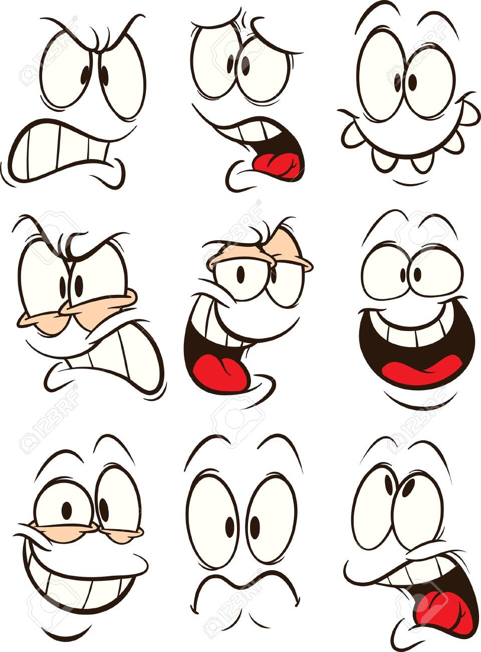 Funny cartoon faces with different expressions clip art. Vector...