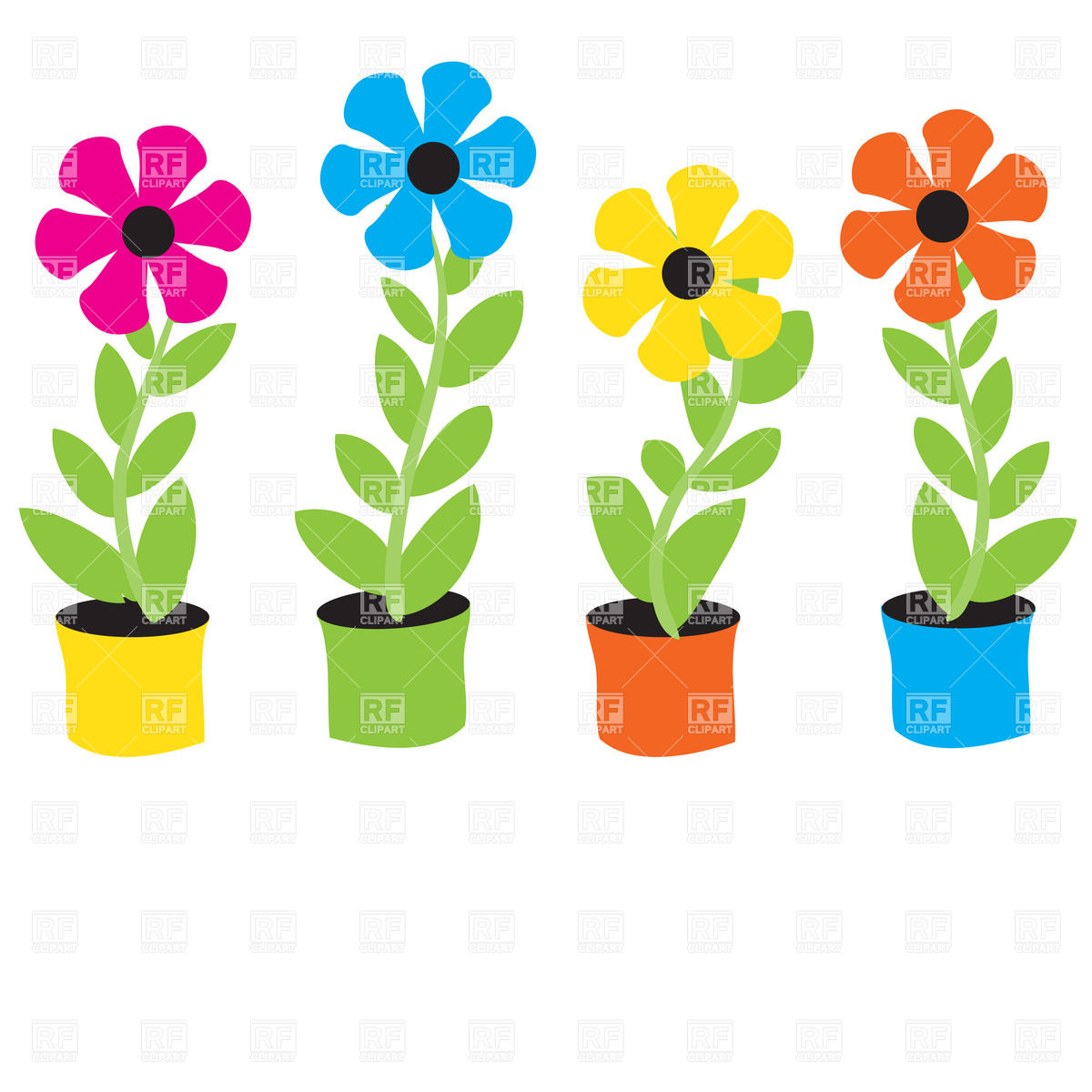 Free Cartoon Flower Clipart.