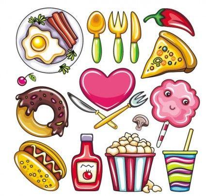 cartoon food 02 vector.