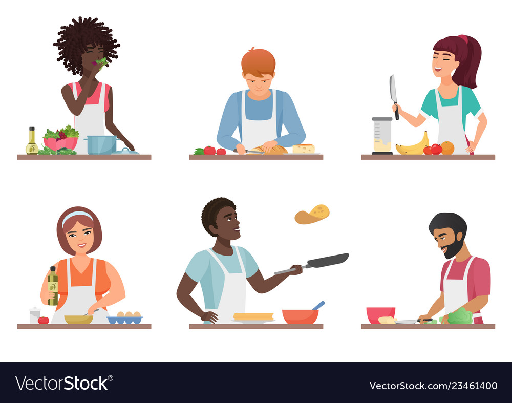 Cartoon people cooking set isolated.