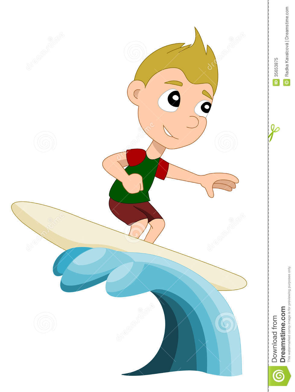 Surfing Boy Cartoon Royalty Free Stock Photo.