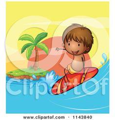 Cartoon Of A Boy Surfing A Wave.