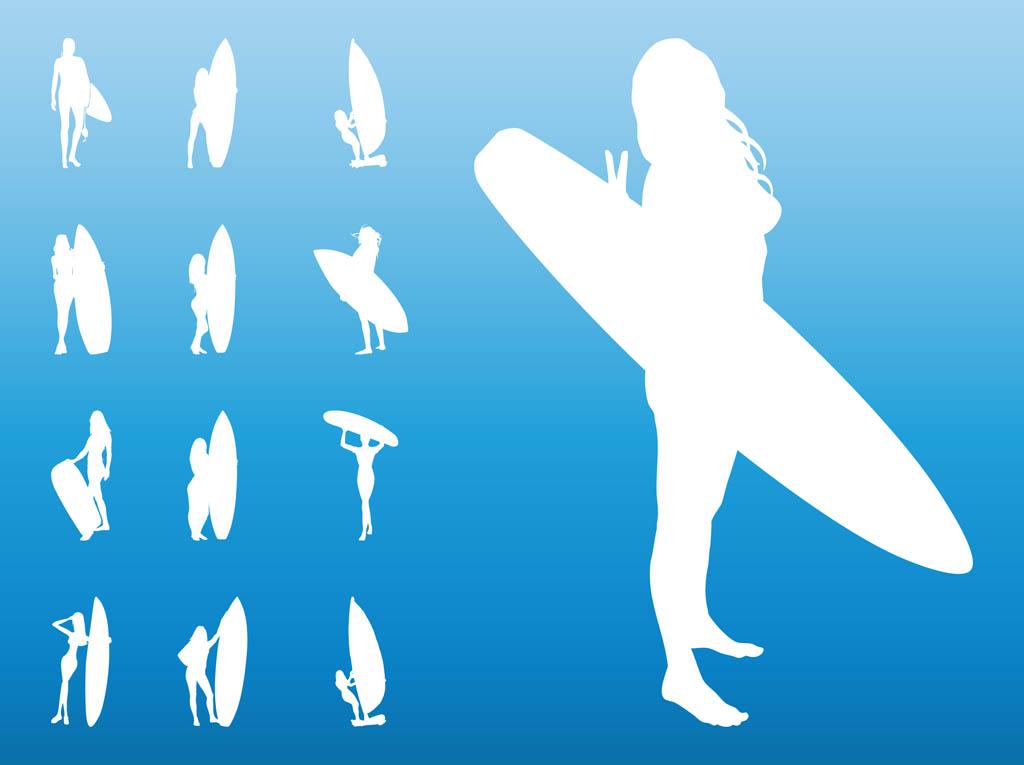 Cartoon Surfer Girl.