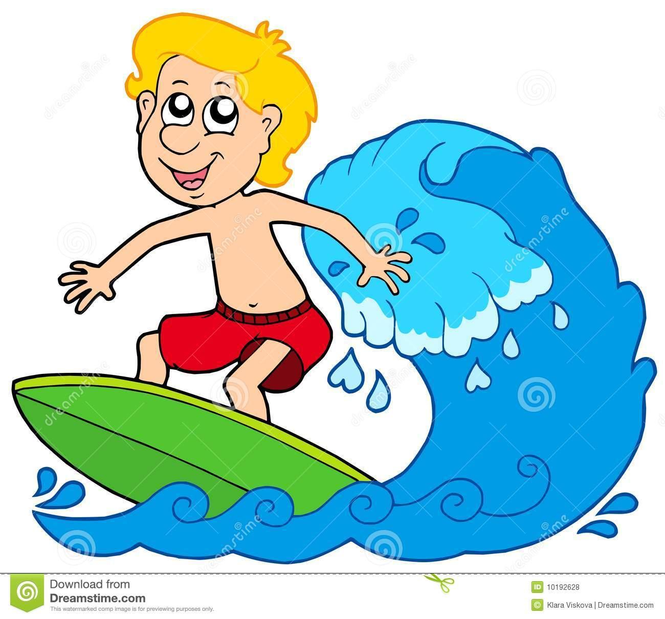 Cartoon Surfer Boy Royalty Free Stock Photos.