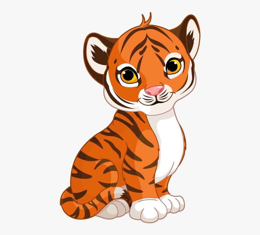 Cute Cartoon Tiger Cub , Free Transparent Clipart.
