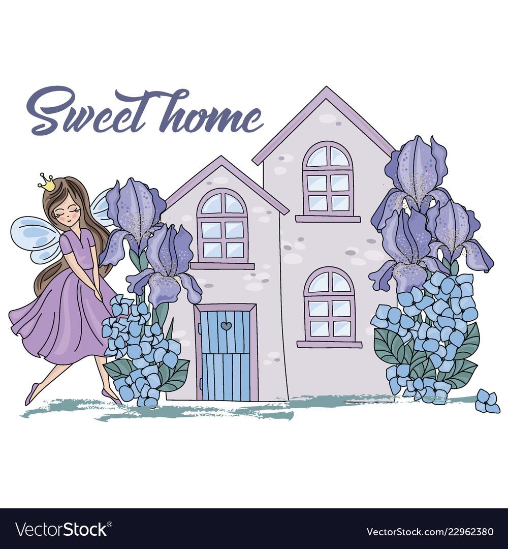 Sweet home cartoon wedding clipart color.