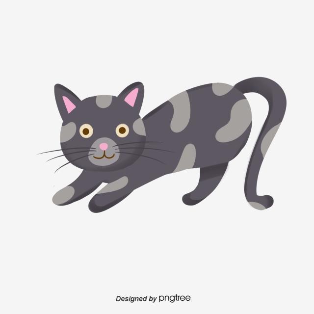 Hand Painted Cartoon Cat Clipart, Cat Clipart, Cartoon Clipart PNG.