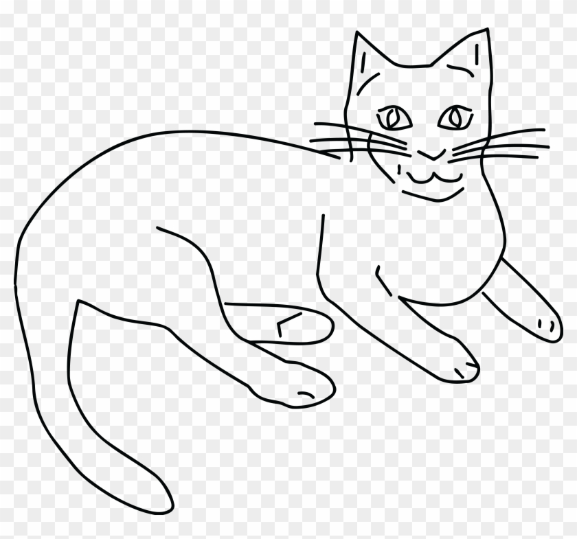 Free Clipart Of A Black And White Cat.