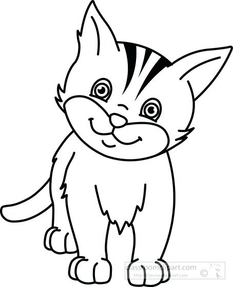 Clipart Of Cat In Black And White.