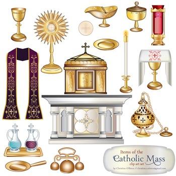 Catholic Mass Items Clip Art Set.