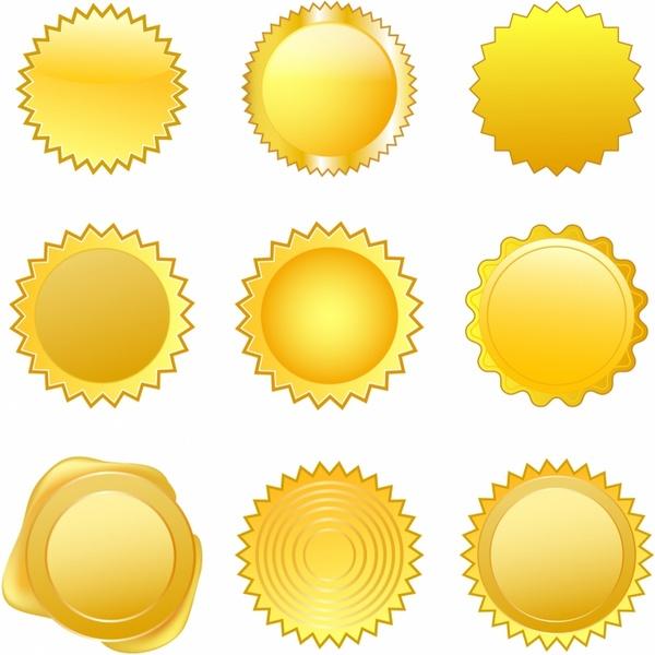 Gold Seals Free vector in Adobe Illustrator ai ( .AI ), Encapsulated.