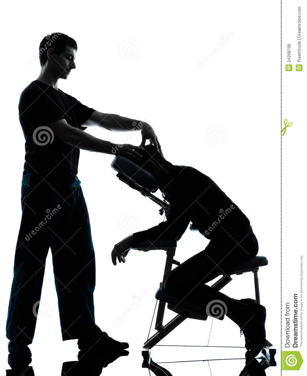 Back Massage Therapy With Chair Stock Photo.