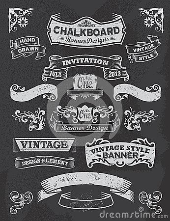 Download Chalkboard Banner And Ribbon Design Set On A Black.