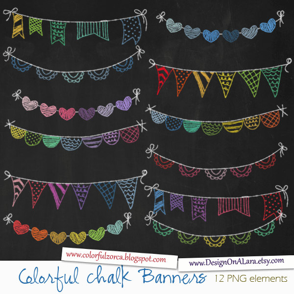 Colorful Chalk Bunting Banners, Rainbow Chalk Banners Clip Art.
