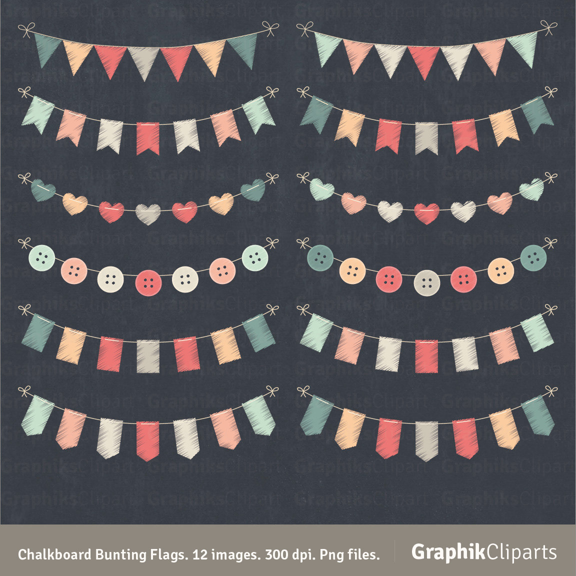 Chalkboard Bunting Flags Clipart.