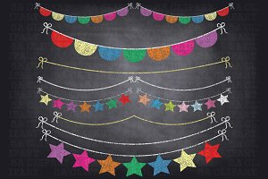 Chalkboard bunting banner Photos, Graphics, Fonts, Themes.