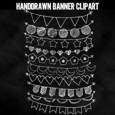 Chalkboard Bunting Banner Digital Clip Art.