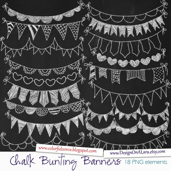 Chalk Bunting Banners, Chalk Banners Clip Art, Digital Banners.