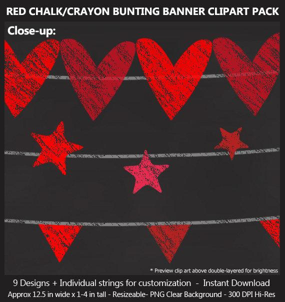 Red Chalk Bunting Banner Clipart.