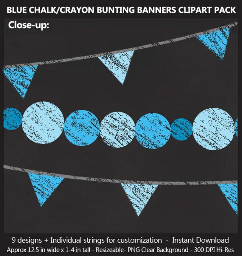 Blue Chalk Bunting Banner Clipart.