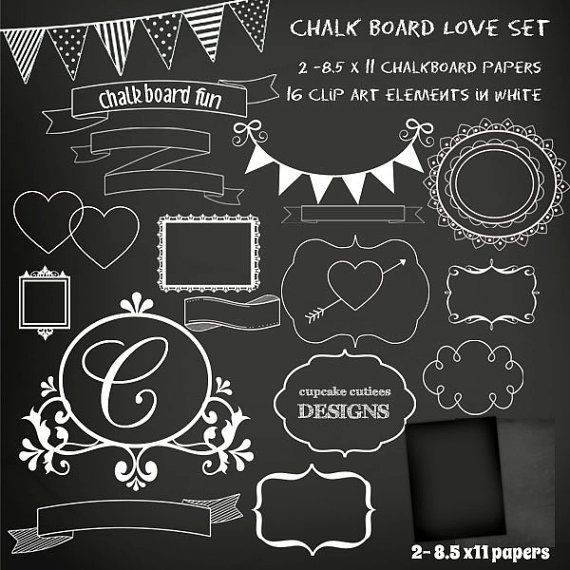 ChalkBoard Set Digital Clipart Elements and Papers Commercial use.