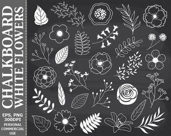 BUY 2 GET 1 FREE! Chalkboard White Flowers Clip Art.